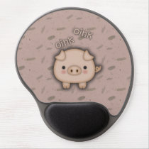 Cute Pink Pig Oink Pink Background Gel Mouse Pad