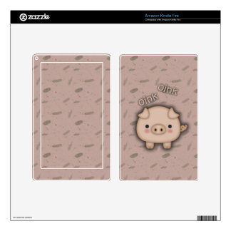 Cute Pink Pig Oink Pink Background Kindle Fire Skin