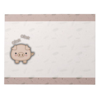 Cute Pink Pig Oink Pink Background Notepad