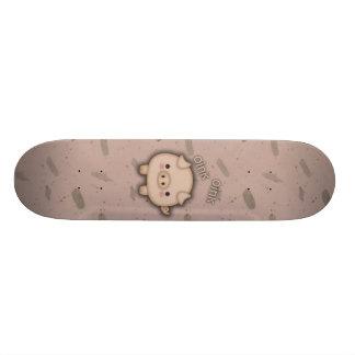 Cute Pink Pig Oink Pink Background Skateboard