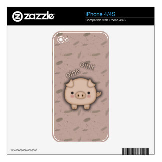 Cute Pink Pig Oink Pink Background iPhone 4S Skin