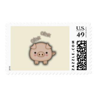 Cute Pink Pig Oink Postage