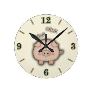 Cute Pink Pig Oink Round Clock