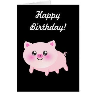 Cute Pink Pig on Black Card