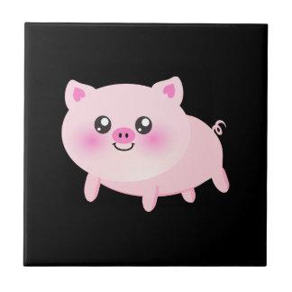 Cute Pink Pig on Black Ceramic Tile