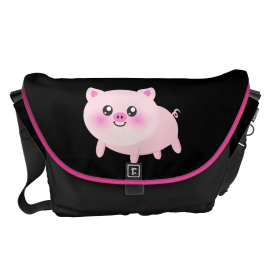 Cute Pink Pig on Black Courier Bag