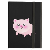 Cute Pink Pig on Black Cover For iPad Air