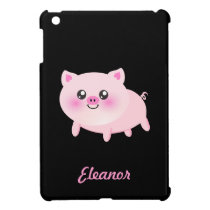 Cute Pink Pig on Black iPad Mini Cover