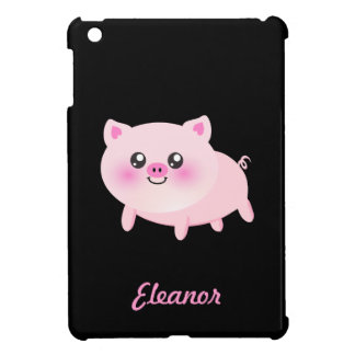 Cute Pink Pig on Black iPad Mini Cover