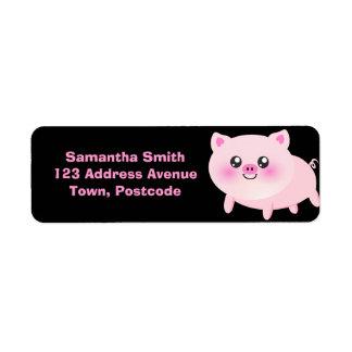 Cute Pink Pig on Black Label