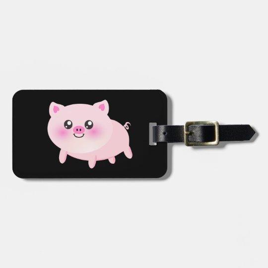 Cute Pink Pig on Black Luggage Tag