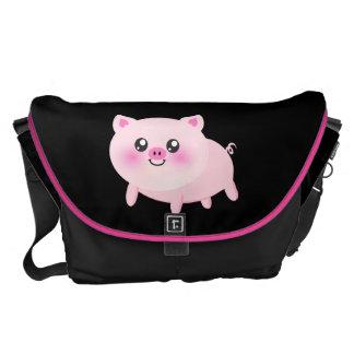 Cute Pink Pig on Black Messenger Bags
