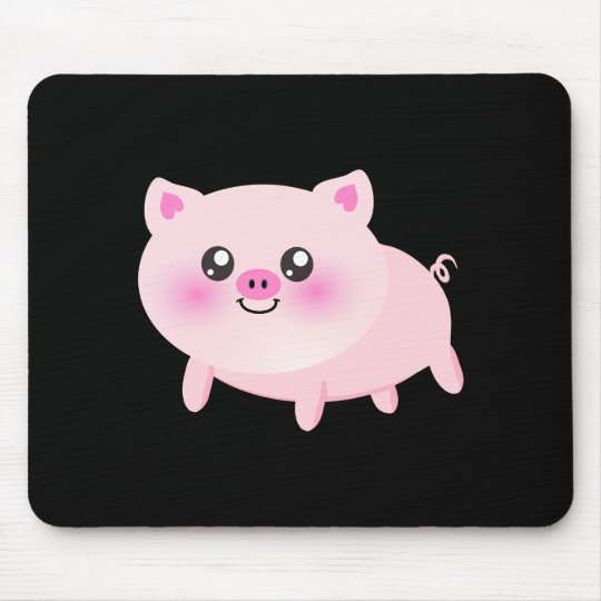 Cute Pink Pig on Black Mouse Pad