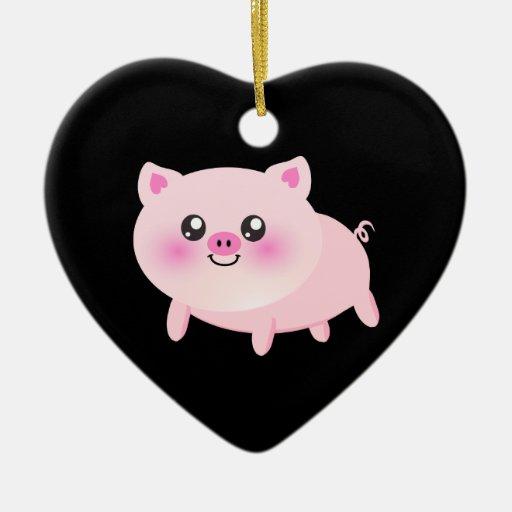 Cute Pink Pig on Black Ornaments