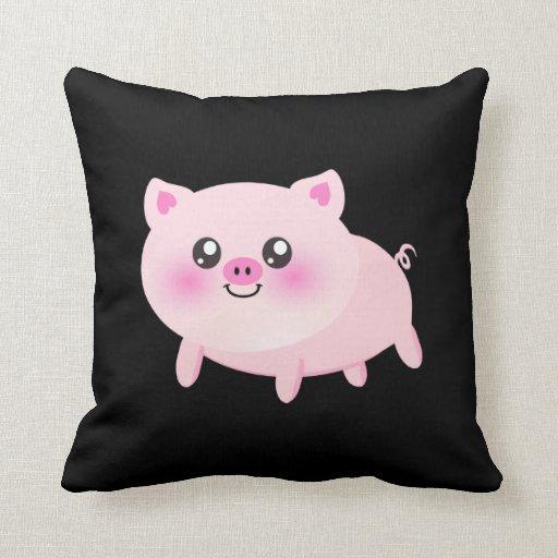 Cute Black Pillows : Cute Pink Pig on Black Pillows Zazzle