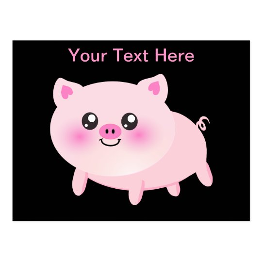 Cute Pink Pig on Black Postcard