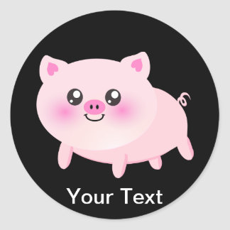 Cute Pink Pig on Black Round Stickers