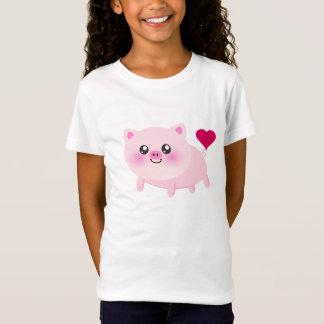Cute Pink Pig on Black T-Shirt