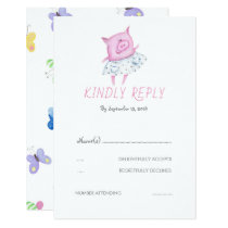 Cute Pink Pig Party or Wedding RSVP Card