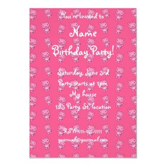 Cute pink pig pattern 5x7 paper invitation card