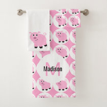 Cute Pink Pig Pattern Kids Monogrammed Animal Bath Towel Set