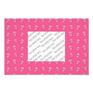 Cute pink pig pattern art photo