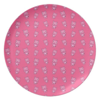 Cute pink pig pattern plates