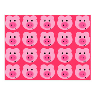 Cute Pink Pig Pattern Postcard