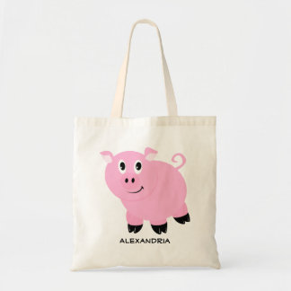 Cute Pink Pig Personalized Adorable Piggy Tote Bag