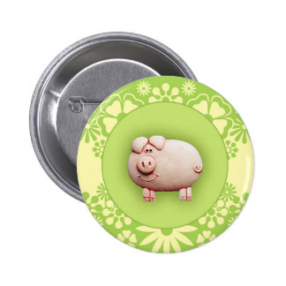 Cute Pink Pig Pinback Button