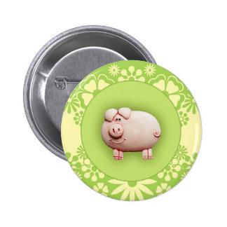 Cute Pink Pig Pinback Button