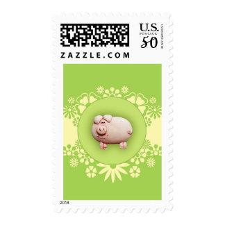 Cute Pink Pig Postage
