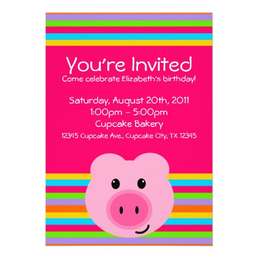 Cute Pink Pig Rainbow Stripes Party Invitations