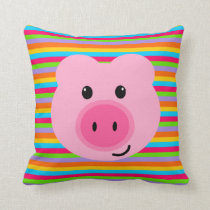 Cute Pink Pig Rainbow Stripes Pillow