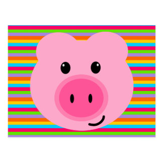 Cute Pink Pig Rainbow Stripes Postcard
