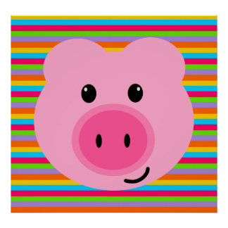 Cute Pink Pig Rainbow Stripes Poster