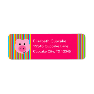 Cute Pink Pig Rainbow Stripes Return Address Label