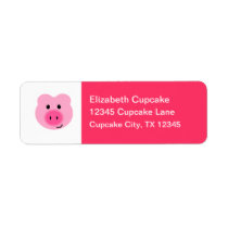 Cute Pink Pig Return Address Label