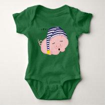 Cute Pink Pig Sleeping in Nightcap Baby Bodysuit