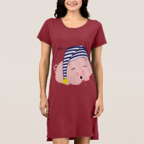 Cute Pink Pig Sleeping in Nightcap Dress