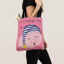 Cute Pink Pig Sleeping in Nightcap Personalized Tote Bag