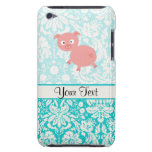 Cute Pink Pig; Teal Damask Barely There iPod Cases