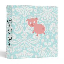 Cute Pink Pig; Teal Damask Binder