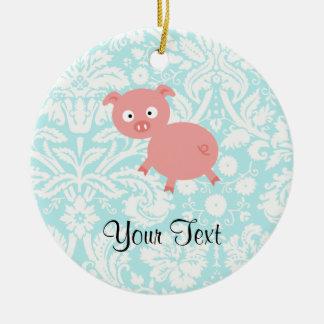 Cute Pink Pig; Teal Damask Ceramic Ornament