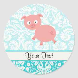Cute Pink Pig; Teal Damask Classic Round Sticker
