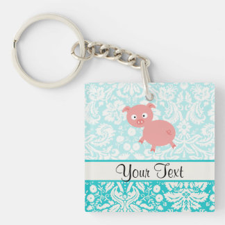 Cute Pink Pig; Teal Damask Double-Sided Square Acrylic Keychain