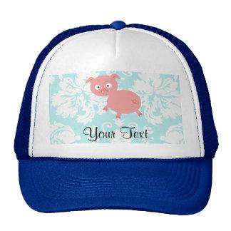 Cute Pink Pig; Teal Damask Trucker Hat