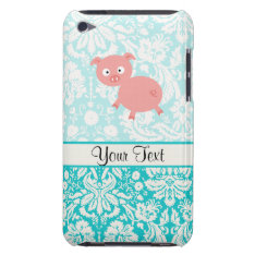 Cute Pink Pig; Teal Damask Ipod Touch Case at Zazzle
