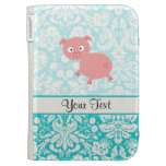 Cute Pink Pig; Teal Damask Kindle Cover