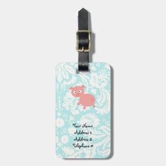 Cute Pink Pig; Teal Damask Luggage Tag
